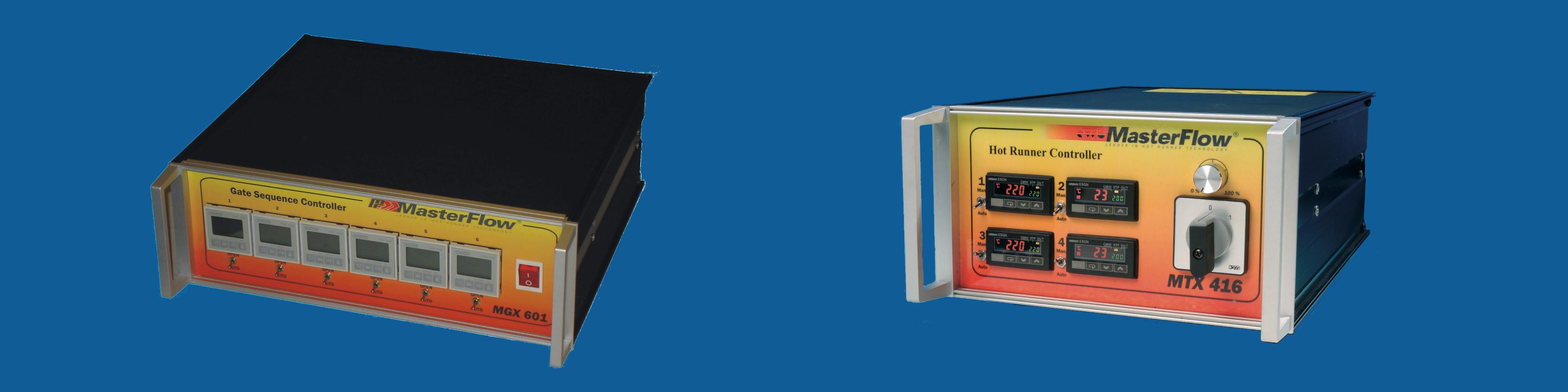 MasterFlow forrócsatorna vezérlő, fűtés vezérlő és szekvenciális vezérlő halvány sötétkék háttérrel