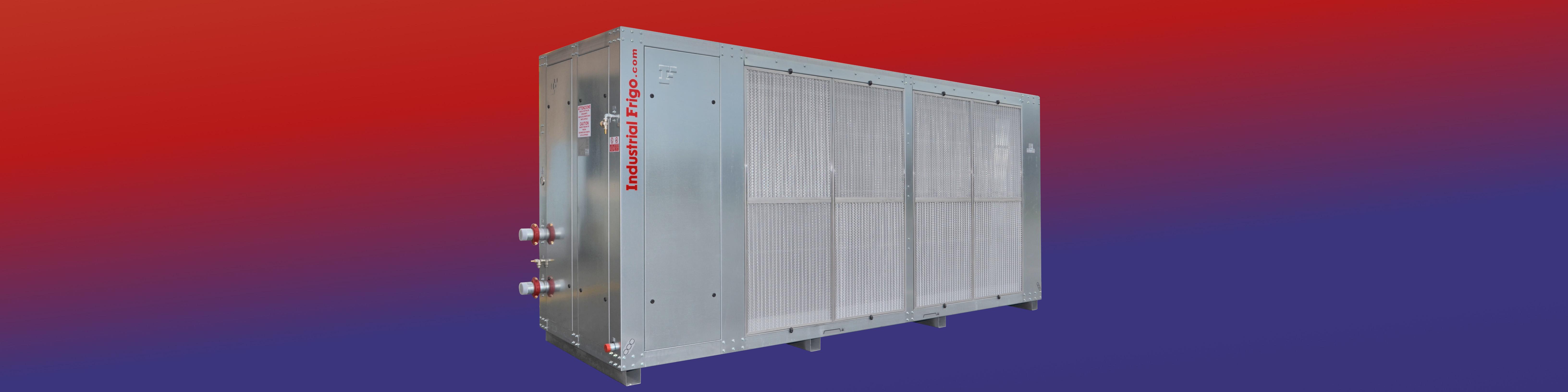 Industrial Frigo levegő kondenzációs folyadékhűtő piros kék háttérrel